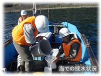 海での採水状況